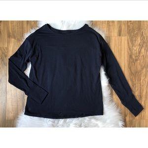 Athleta Long Sleeve Navy Blue Athletic Shirt
